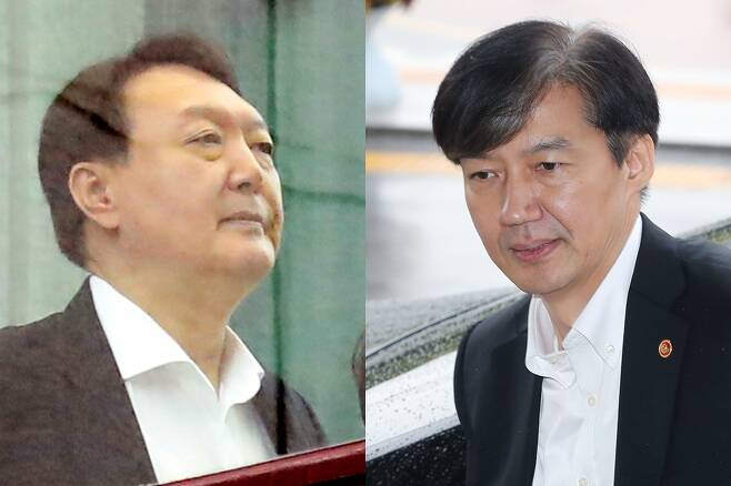 윤석열(왼쪽) 검찰총장과 조국 법무부 장관. 연합뉴스