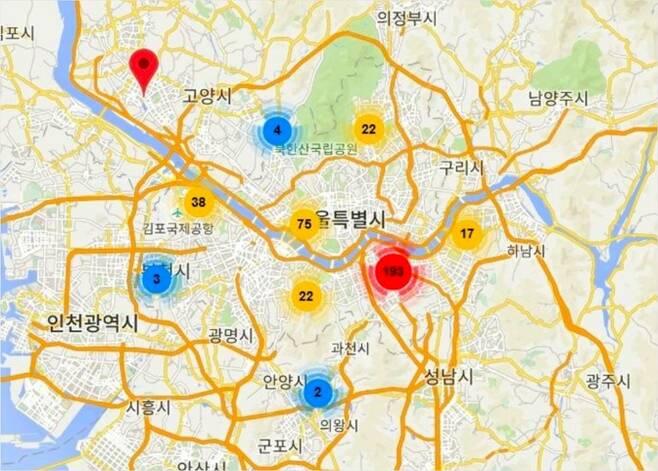 1년 간 판결문을 통해서 확인한 서울시내 성매매 오피스텔 분포 지도. 강남구와 마포구에 가장 많이 몰려 있다. (사진=한국일보 제공)