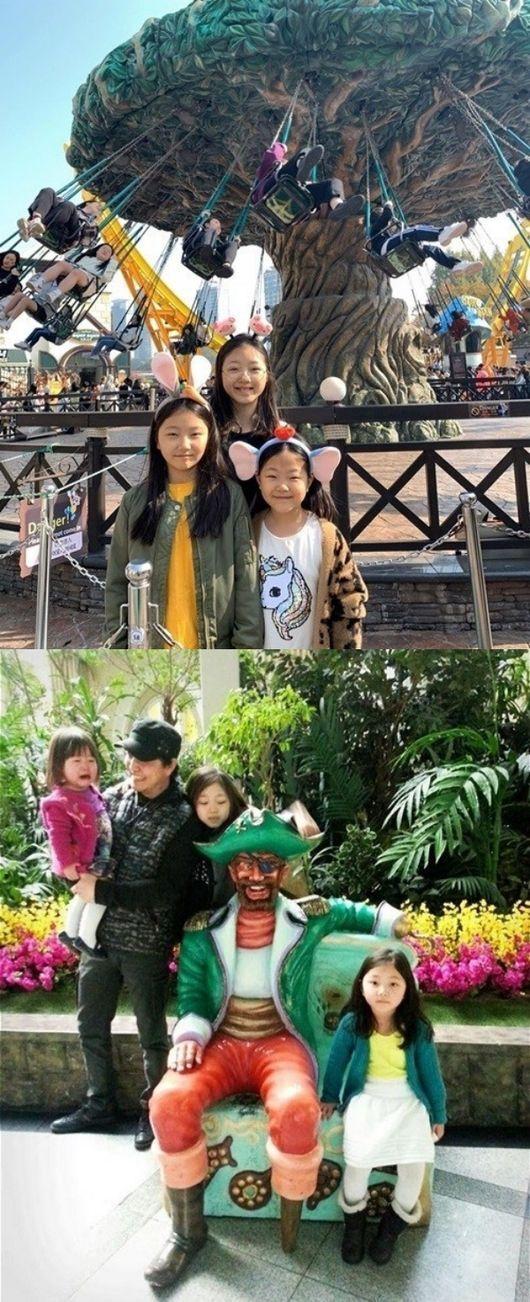 [사진=이지인 SNS] 배우 정웅인 아내 이지인 씨가 '삼윤이'로 사랑받았던 세 자매의 근황(위)과 과거 사진을 공개했다.