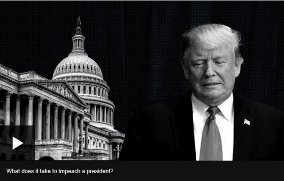 미국 하원이 탄핵 청문보고서를 공개하면서 위기에 몰린 트럼프 미국 대통령. [BBC 캡처]