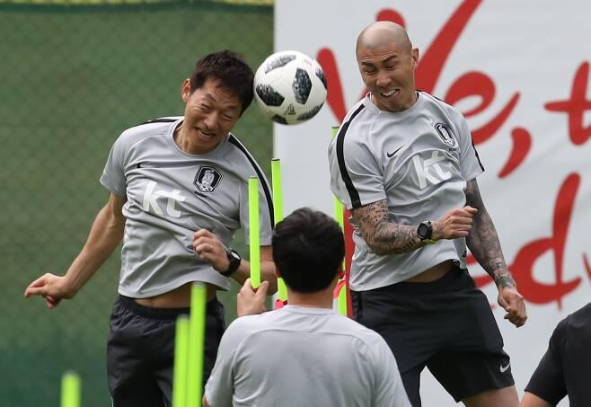 지난해 6월5일 오스트리아 레오강에서 대표팀 훈련에 함께 임한 차두리와 김남일 코치. [연합뉴스]