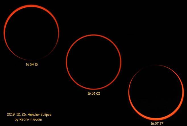 3분 22초 간 진행된 금환일식. 이를 촬영하기위해 김씨는 렌즈교환식 카메라에 렌즈 대신 태양관측용 필터가 장착된 초점거리 350mm 천체망원경과 2배 바로우렌즈를 연결해 1초 간격으로 촬영했다. 사진=김창섭