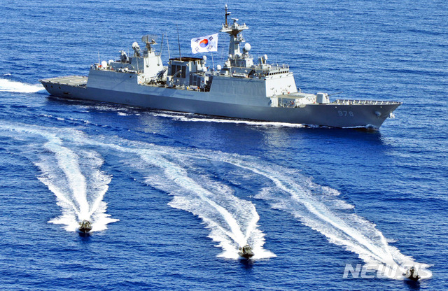 [부산=뉴시스] 청해부대 31진 '왕건함'. (사진=해군작전사 제공).photo@newsis.com