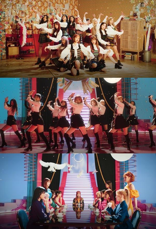 아이즈원이 만개한 아름다움과 함께 새로운 활동을 시작한다. '피에스타' 뮤직비디오 캡처