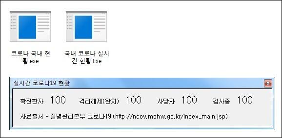 ▲'코로나19 실시간 현황' 조회 프로그램으로 위장한 악성코드 화면 (사진=이스트시큐리티 제공)