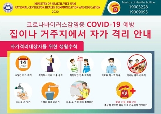 베트남 보건부가 만든 한국어 코로나19 예방 수칙. 사진=베트남 보건부 코로나19 정보 사이트 캡처