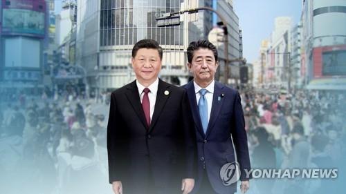 시진핑 중국 국가주석(좌)과 아베 신조 일본 총리(CG) [연합뉴스TV 제공]