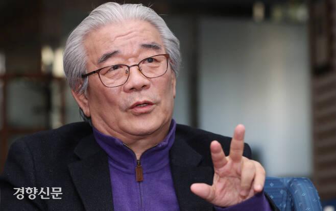 지난 2월 27일 <일제종족주의> 대표 집필자 황태연 동국대 교수가 인터뷰하고 있다. 이상훈 선임기자