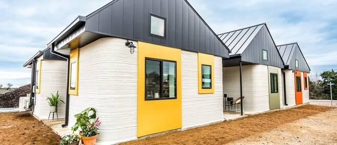 노숙자들을 위해 지은 미국 텍사스 오스틴의 3D 프린팅 주택. 아이콘 제공