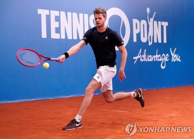 최근 독일에서 무관중 경기로 열린 테니스 이벤트 대회 경기 모습. [EPA=연합뉴스]