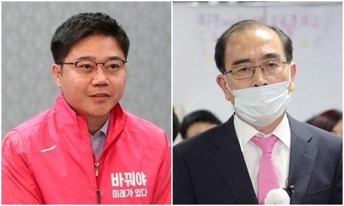 미래한국당 지성호 당선인(왼쪽)과 미래통합당 태영호 당선인. 연합뉴스