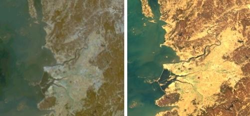 천리안 1호가 촬영한 새만금 부근 모습(왼쪽)과 2B호가 촬영한 모습. [과학기술정보통신부 제공]
