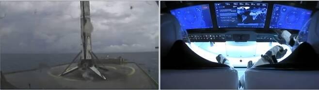 발사 9분30초 후 대서양 해상 바지선으로 팰컨9 1단계 추진체. 오른쪽은 우주선 내부 모습. 웹방송 갈무리