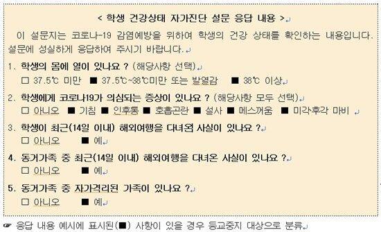 교육부가 만든 온라인 학생 자가진단표 예시 [교육부 제공]