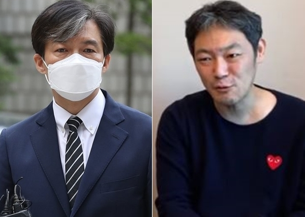 조국 전 법무부 장관과 김용호 전 기자(오른쪽). 연합뉴스