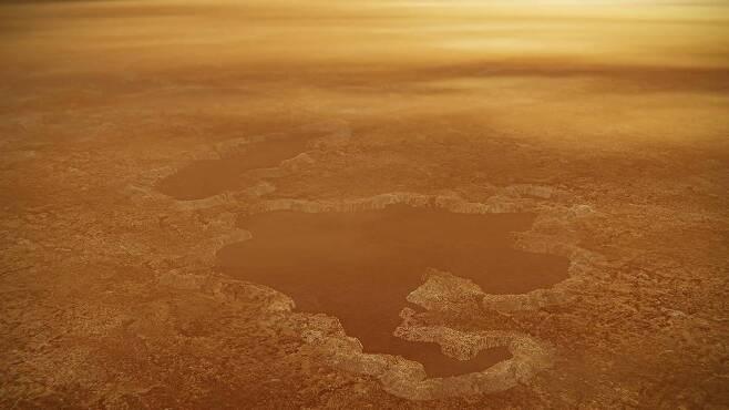 타이탄 북극의 호수 상상도 [NASA/JPL-Caltech 제공/ 재판매 및 DB 금지]