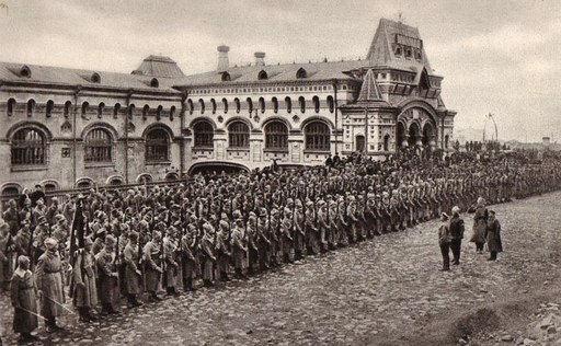 체코군단 병사들이 훈련을 앞두고 정렬해있다. 위키피디아