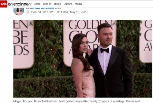 메간 폭스(왼쪽)와 그의 전 남편 브라이언 오스틴 그린. 출처|CNN