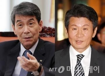 이동걸 산업은행 회장(왼쪽), 정몽규 HDC현대산업개발 회장/사진=머니투데이DB