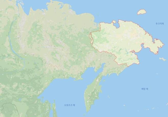 붉은 선으로 표시된 지역이 러시아 극동 추코트카 [구글 지도 캡처. 재배포 및 DB화 금지]