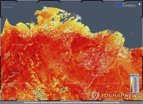 지난 19일 이상 고온 현상으로 붉게 물든 시베리아 [AP=연합뉴스 자료사진]