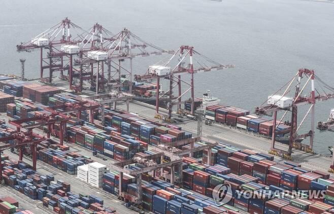 지난 6월 1일 컨테이너 하역 중인 신선대부두 [연합뉴스 자료사진]