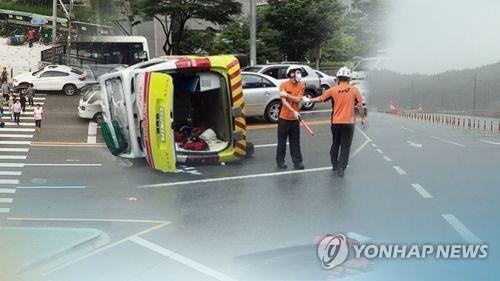 구급차 사고 [연합뉴스TV 제공]