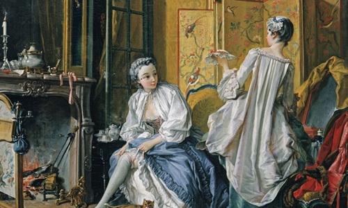 프랑수아 부셰의 '화장방'. 1742년 作. 당시 화장방을 즐겨 그렸던 프랑수아 부셰의 작품으로 동양적인 화려한 병풍이 눈길을 끈다. 병풍이나 스크린은 화장대와 더불어 귀부인의 화장방의 대표적인 가구였다. 문학동네 제공