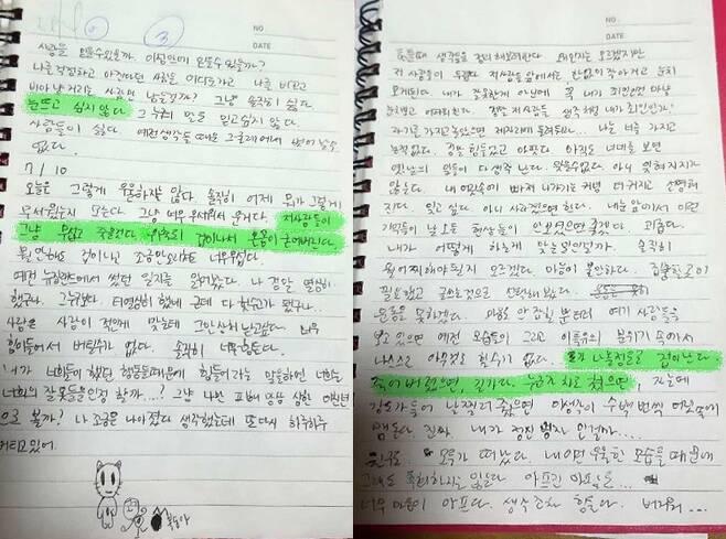 故 최숙현 선수의 생전 일기장 [유가족 제공]