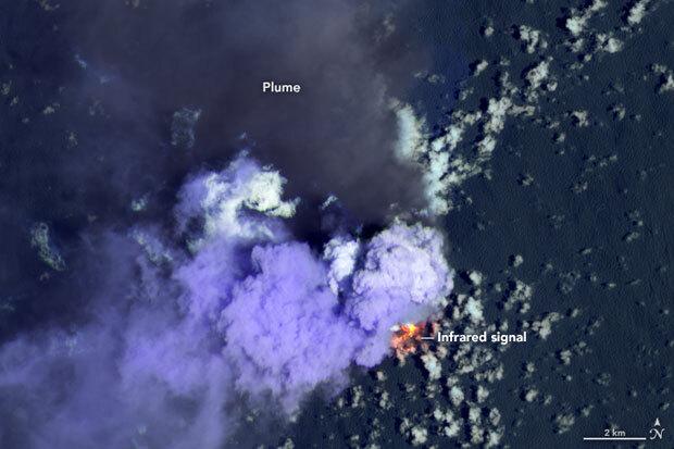 나사 인공위성 '아쿠아'가 촬영한 니시노시마 화산활동./사진=미 항공우주국 지구관측소