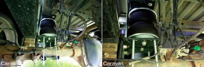에어리프트를 통해 액슬과 적재함의 높이를 조절할 수 있고 결과적으로 수평 및 뒷처짐을 방지할 수 있다