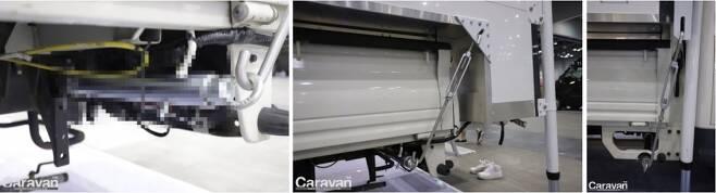 프레임에서부터 고정 장치, 인증 받은 부품의 사용, 4점식 고정, 플레이트 부착(1트럭 + 1캠퍼) 제작자 및 일련번호