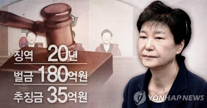 박근혜 '국정농단·특활비' 파기환송심 선고 (PG) [김민아 제작] 사진합성·일러스트