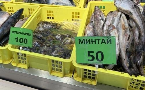 명태(러시아어로 민타이·минтай)를 판매하는 러시아 재래시장의 모습. [김형우 특파원 촬영 = 연합뉴스]