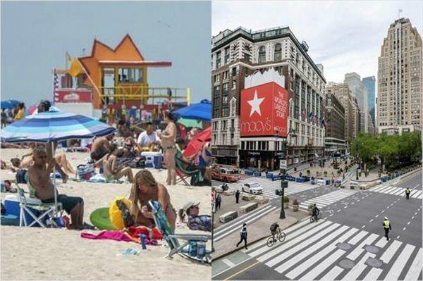 미국 플로리다주 마이애미비치(왼쪽), 뉴욕 맨해튼 거리 모습(사진=연합뉴스)