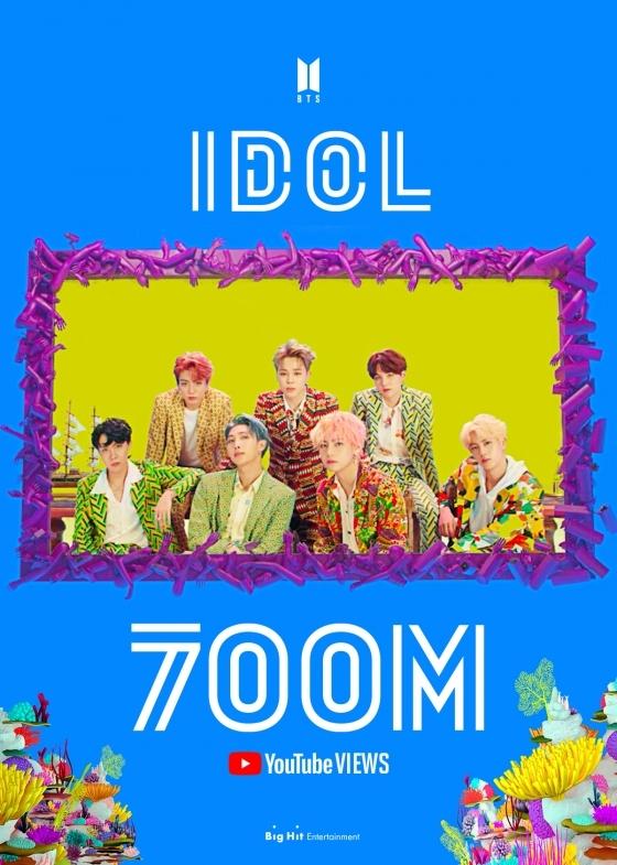 방탄소년단 'IDOL' 뮤직비디오 7억뷰 돌파..통산 4번째 7억뷰 '대기록'