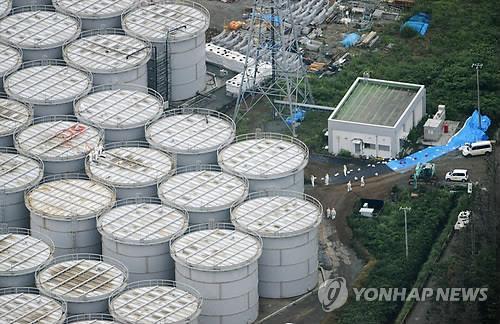후쿠시마 원전의 오염수 탱크 [교도=연합뉴스 자료사진]