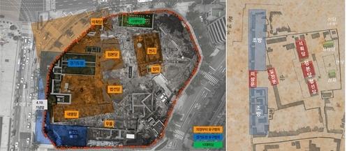 의정부지 유구 발굴 현황도(왼쪽)와 의정부 건물 배치도(오른쪽) [서울시 제공]