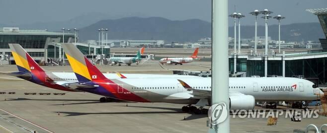 멈춰선 아시아나항공 [연합뉴스 자료사진]
