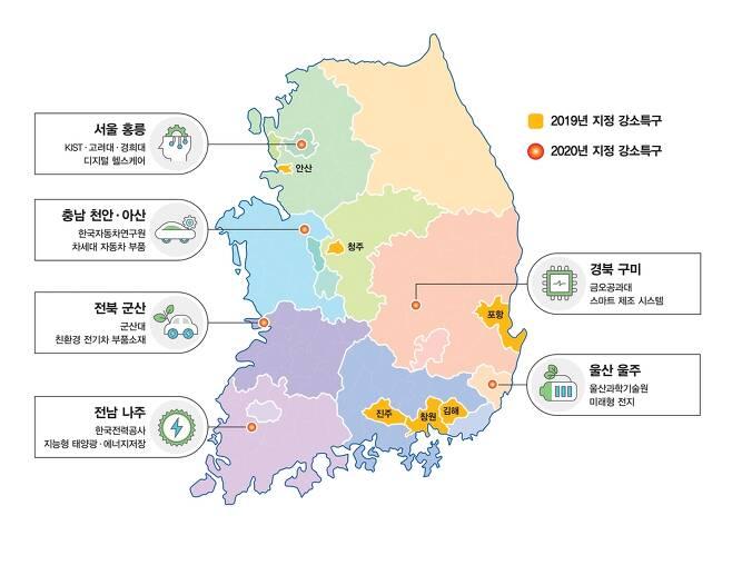 신규 지정 6개 연구개발강소특구 [과학기술정보통신부 제공. 재판매 및 DB 금지]