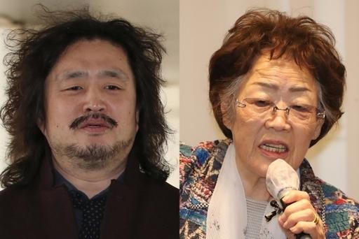 (왼쪽부터) 방송인 김어준씨, 일본군 위안부 피해자 이용수 할머니. 연합뉴스