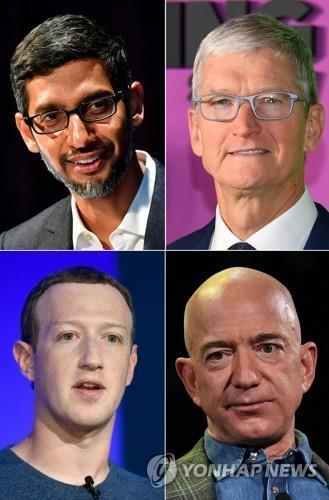 왼쪽 위부터 시계 방향으로 순다르 피차이 구글 CEO, 팀 쿡 애플 CEO, 제프 베이조스 아마존 CEO, 마크 저커버그 페이스북 CEO. [AFP=연합뉴스 자료사진]