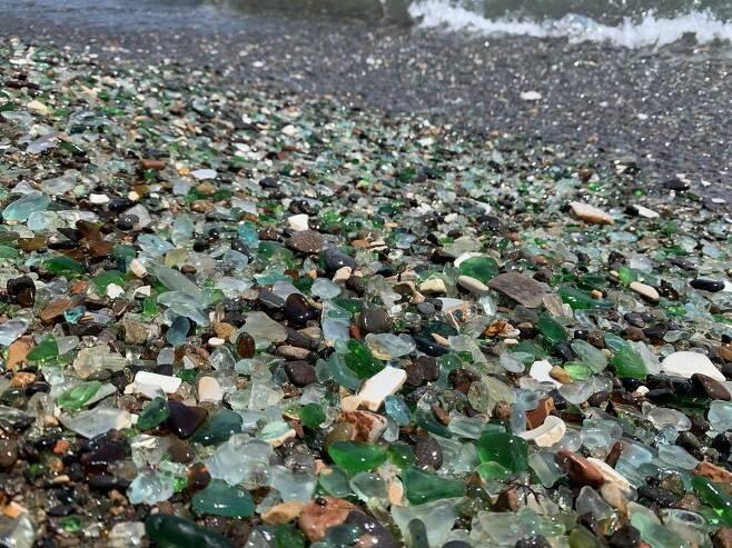 지난달 31일 러시아 극동 우수리만에서 촬영한 유리 해변의 모습. [연합뉴스 김형우 촬영]