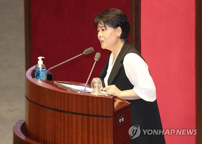 자유발언 하는 미래통합당 윤희숙 의원 [자료사진]