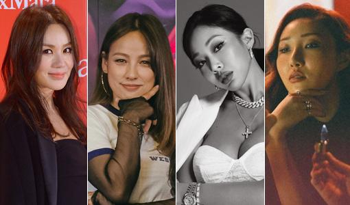 가수 엄정화-이효리-제시-화사(왼쪽부터). 사진제공|스포츠동아DB·MBC·피테이션·RBW