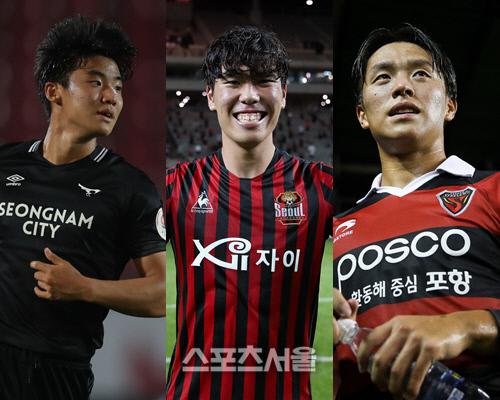 성남 홍시후(왼쪽부터), 서울 정한민, 포항 고영준. 제공   한국프로축구연맹