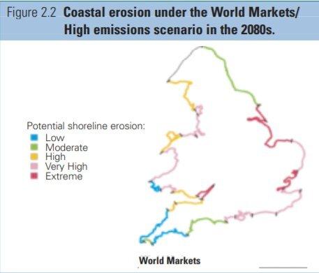 기후변화로 인해 해안 침식 가능성을 표시한 영국 지도. 빨간색에 가까울수록 해안침식 위험이 더욱 크다. Future Flooding, 2004, UK / Flood and Coastal Defence project, Foresight programme, Office of Science and Technology
