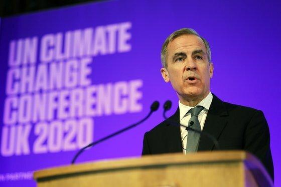 올해 초 유엔기후변화협약 당사국총회(COP26)에 경제 아젠다 제안을 위해 발언하는 마크 카니 당시 영국중앙은행 총재. AP=연합뉴스