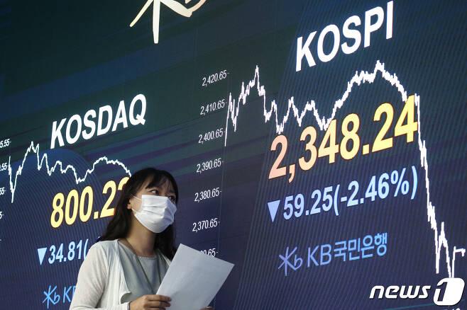 18일 오후 서울 영등포구 KB국민은행 여의도지점 스마트딜링룸에서 직원이 업무를 보고 있다.  2020.8.18/뉴스1 © News1 성동훈 기자