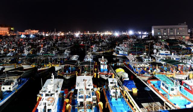9호 태풍 '마이삭'(MAYSAK)이 북상 중인 1일 오후 경남 사천시 삼천포항에는 피항 온 중·소형 어선들로 북적이고 있다. 뉴시스
